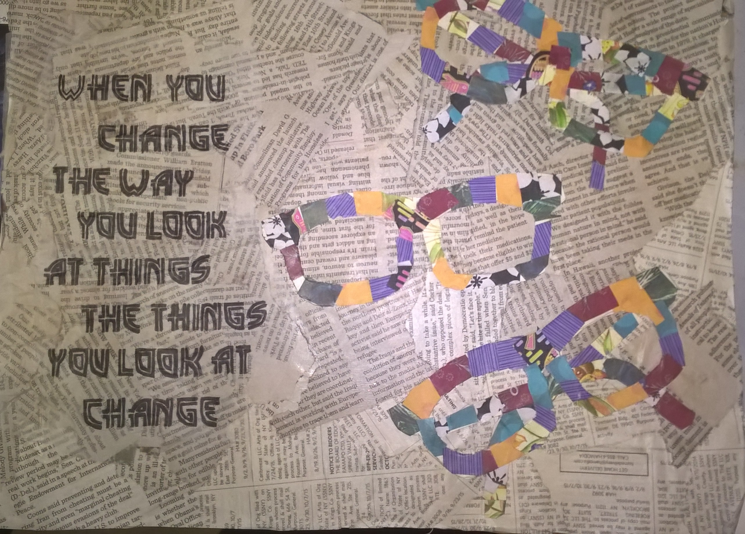 newspaper background with collaged glasses and quote