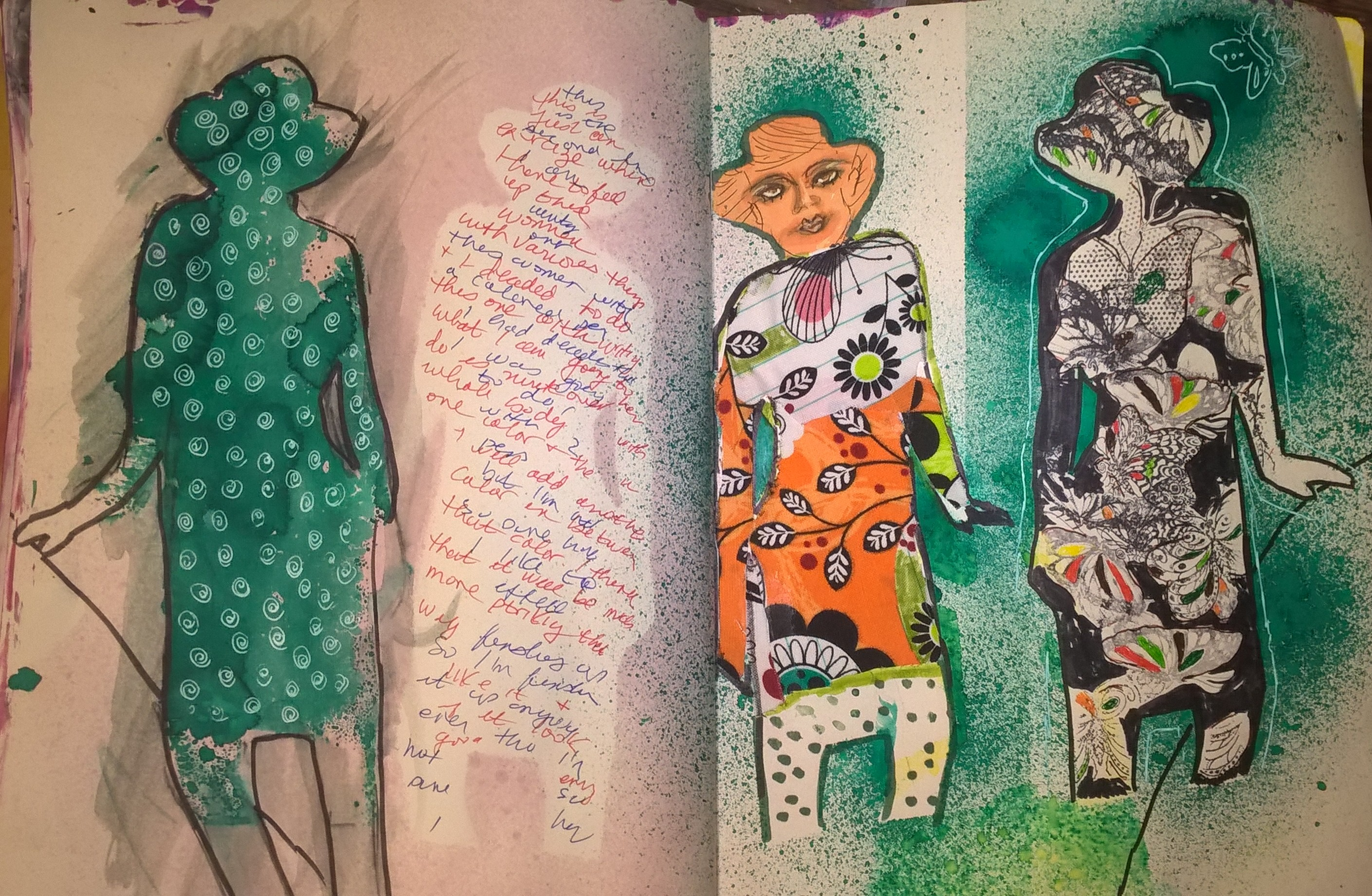 mixed media journal page with outlines of 4 women filled in with various media