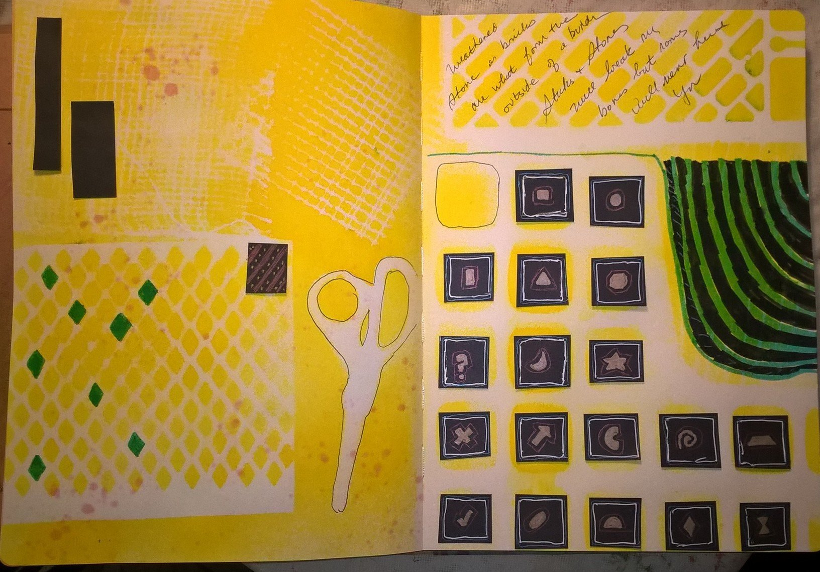 journal page created with every day objects