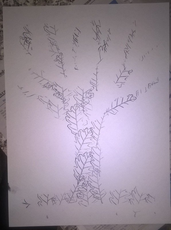 image of stenciled tree with leaf stamps