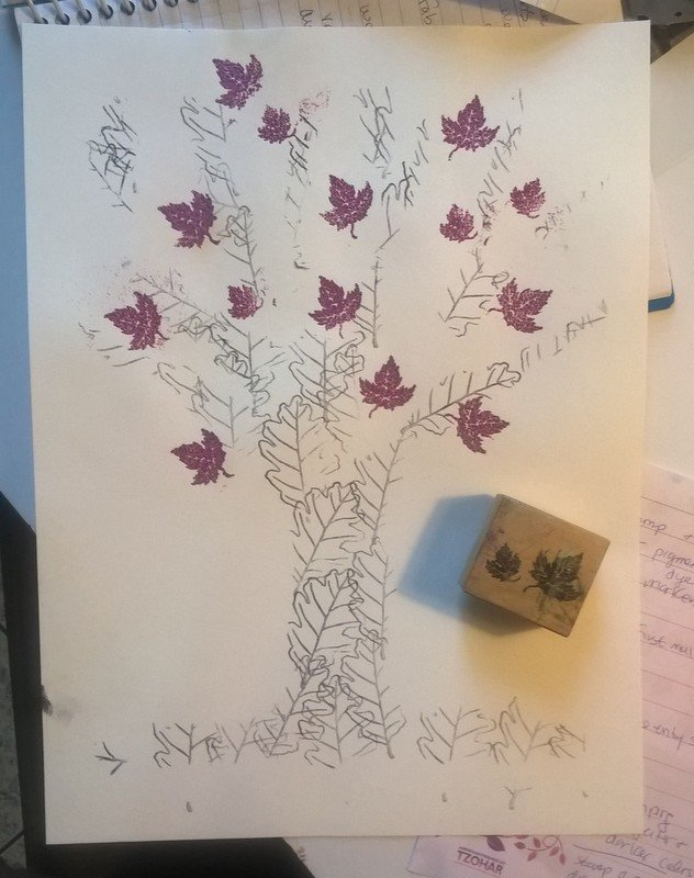 stenciled tree with embossed glittery leaf stamps
