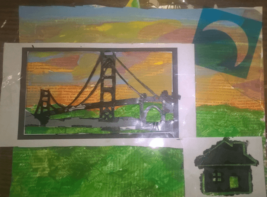 using stencils over sunset and grass background
