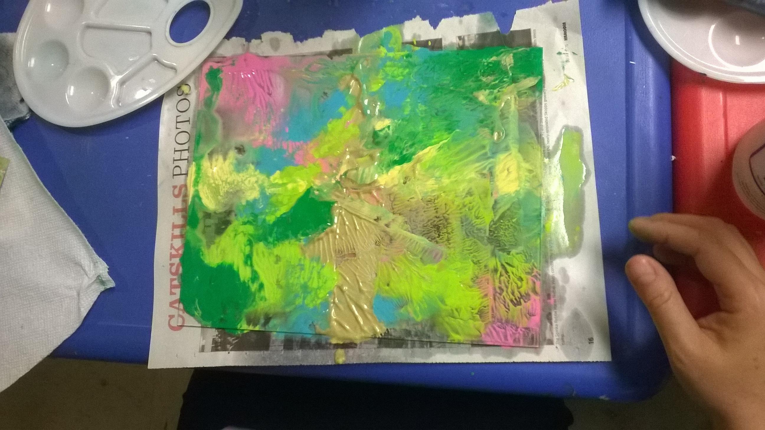 mushing paint on plexigalss to pull print