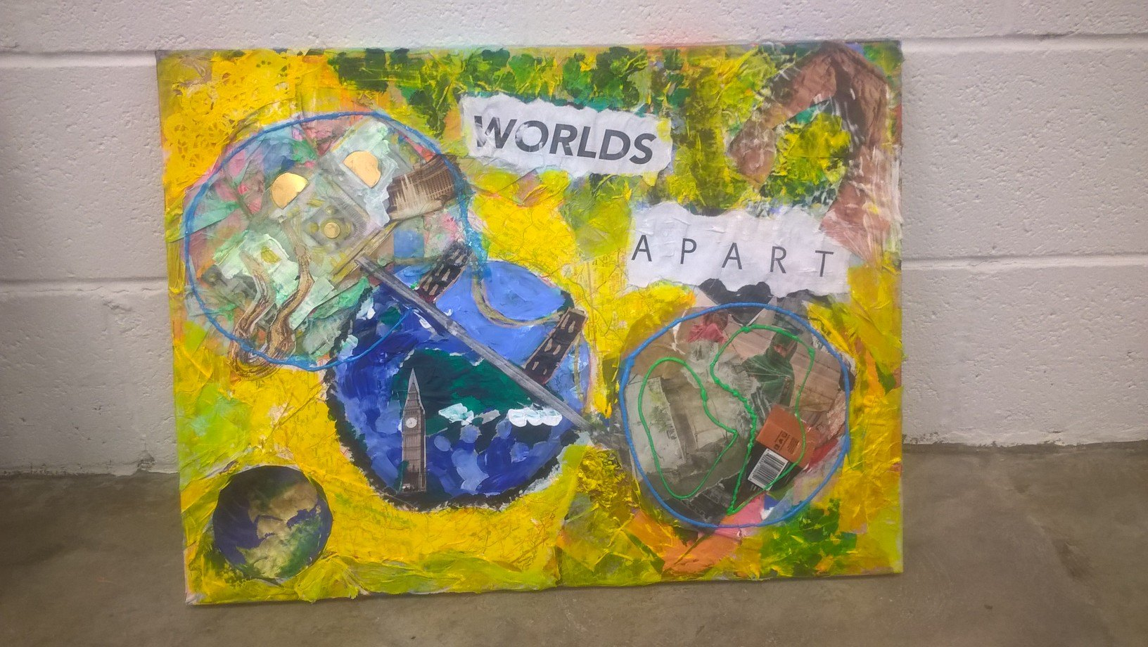 mixed media collage worlds apart