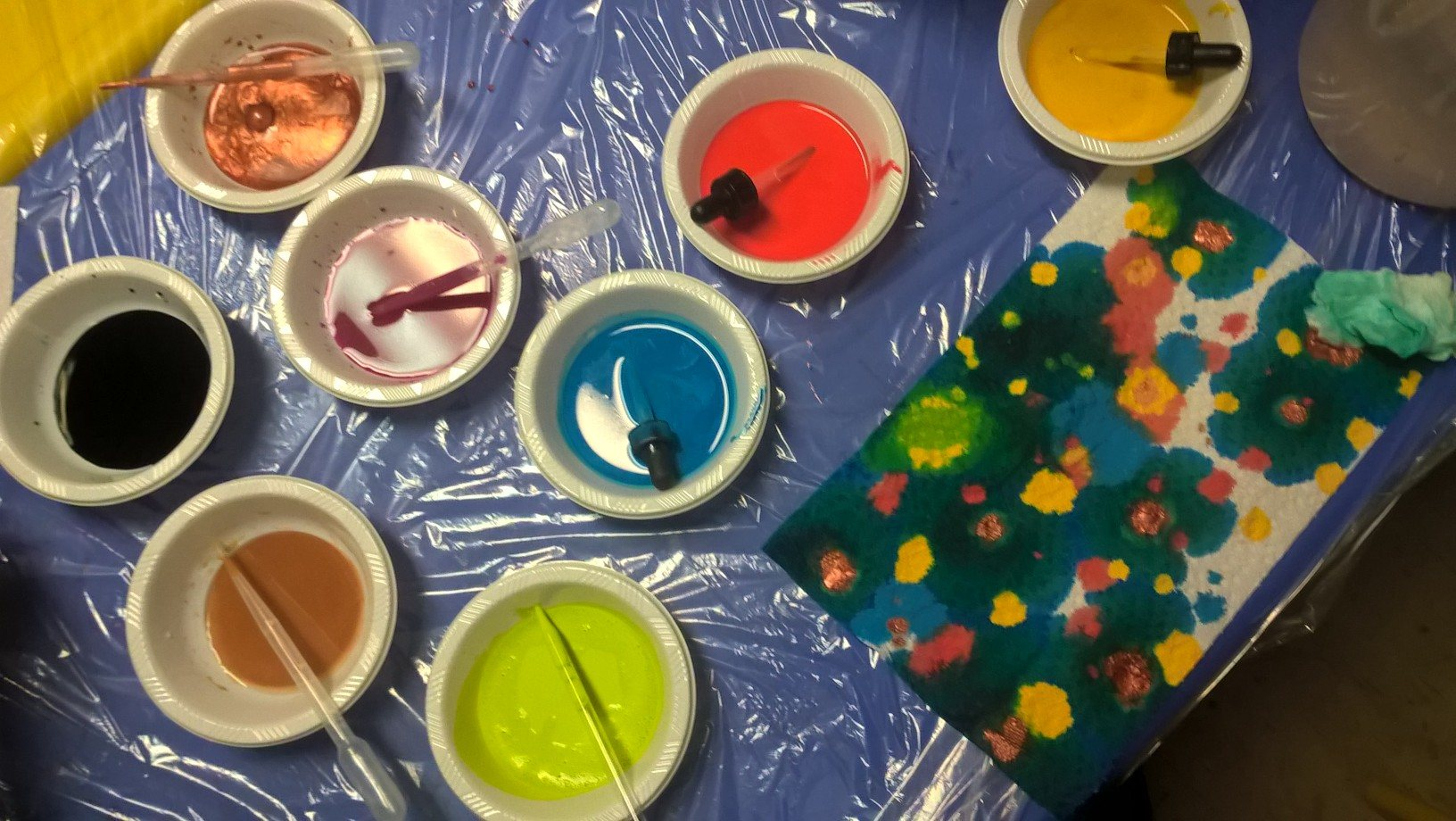 paints and eyedroppers