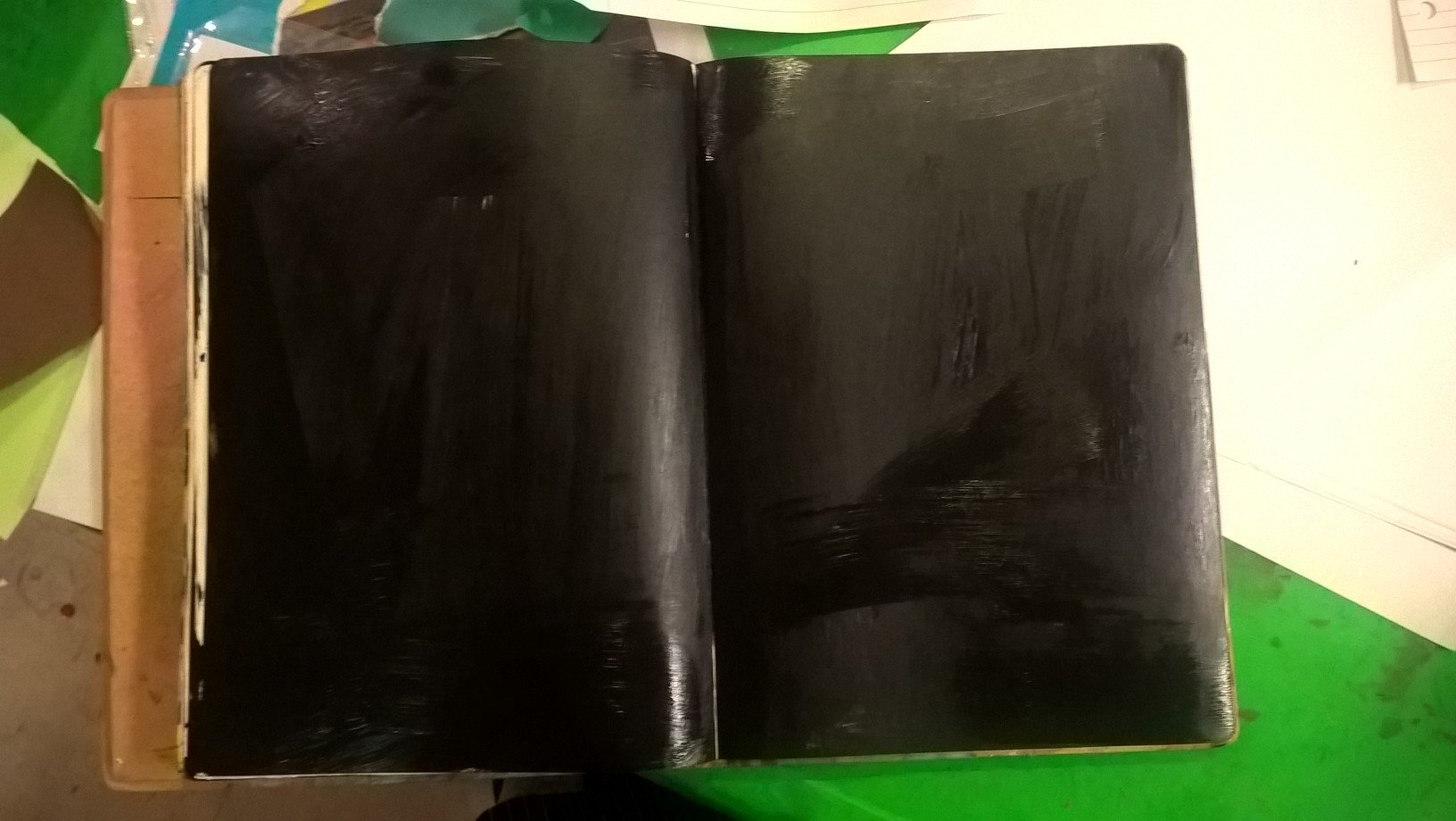 journal spread painted balck