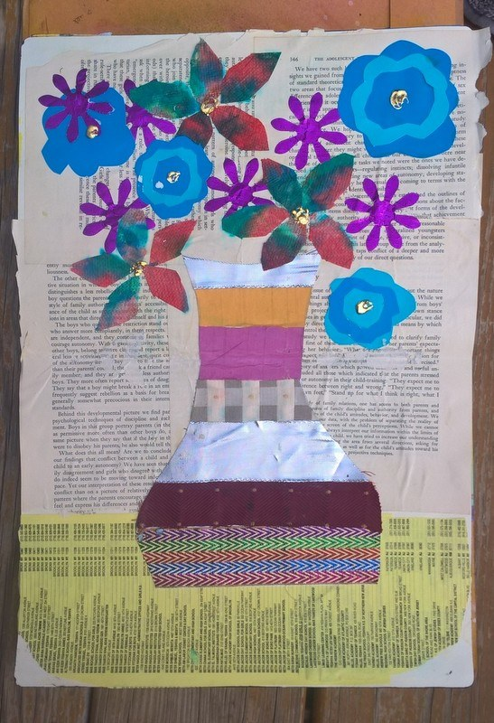 flower collage with vase made of fabric strips