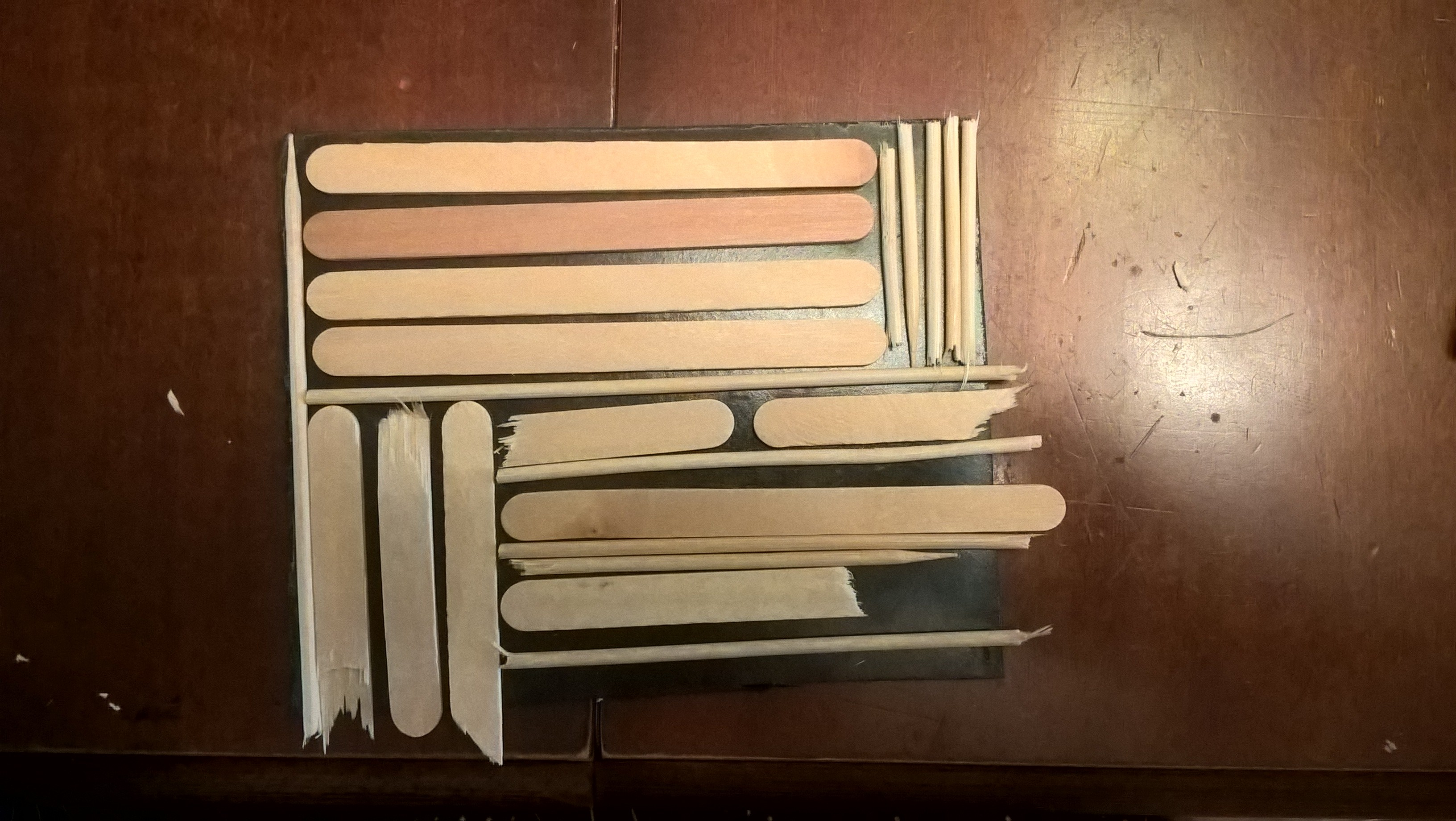 printing plate made with craft sticks and skewers