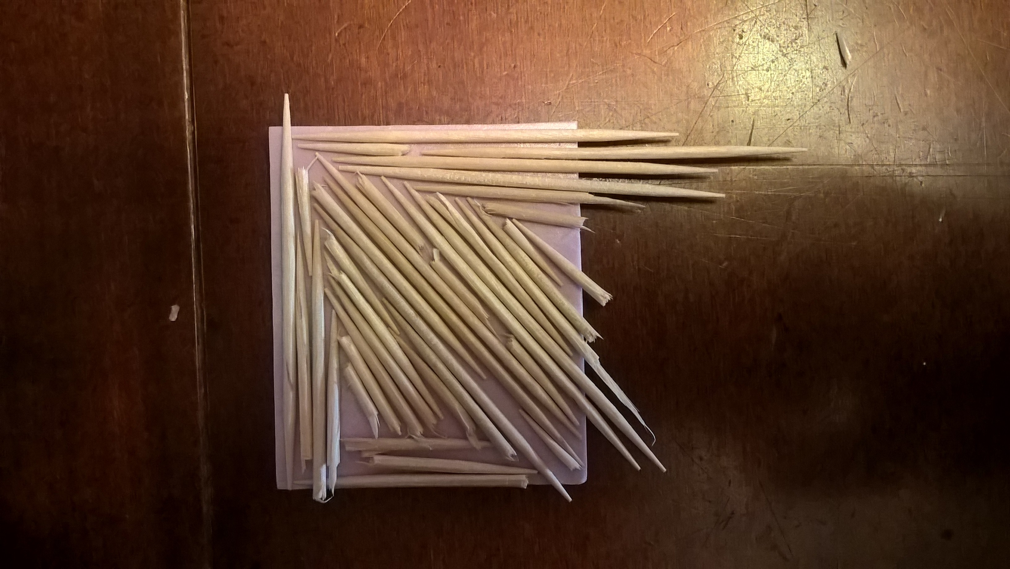 printing plate made with toothpicks