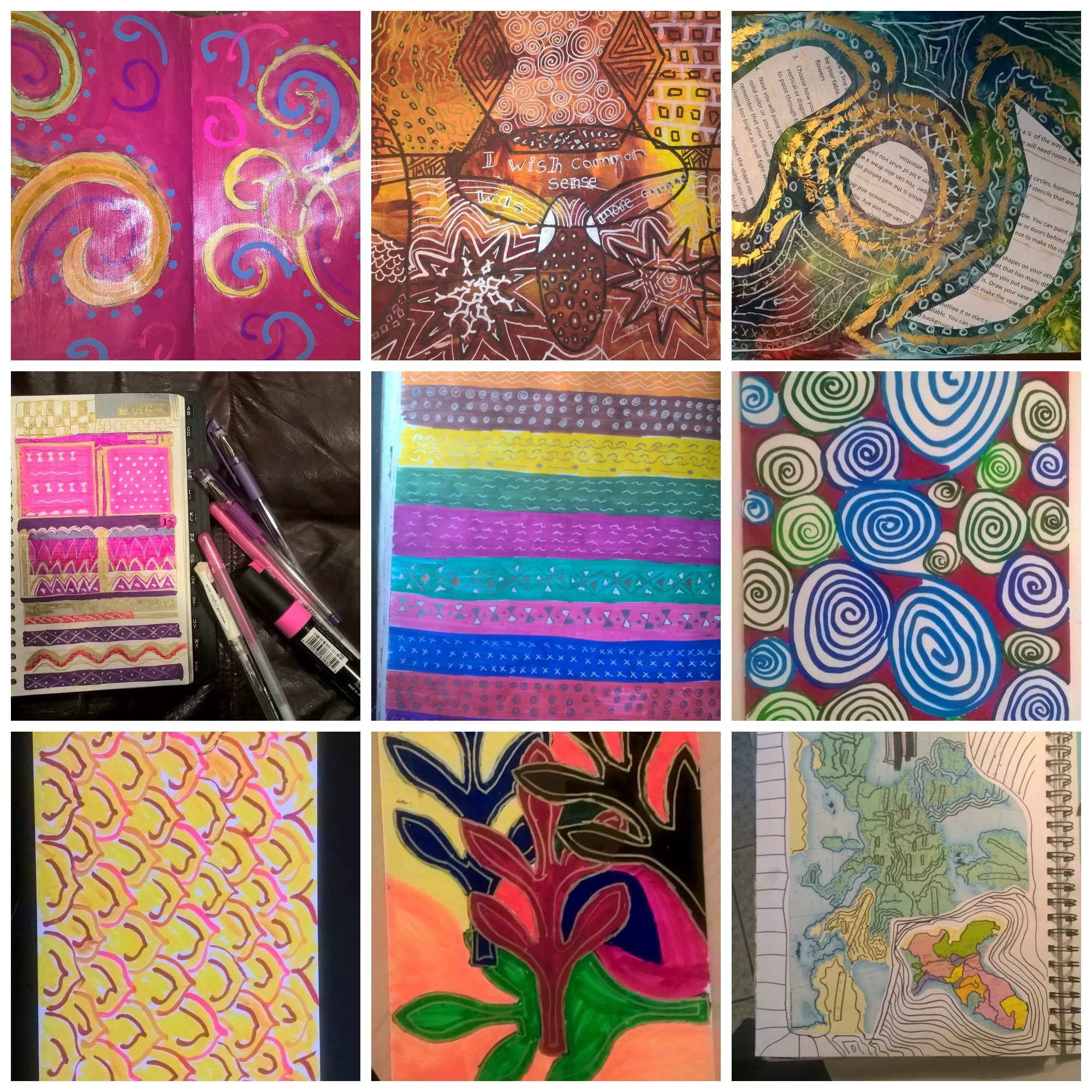 collage of coloring and doodling activites