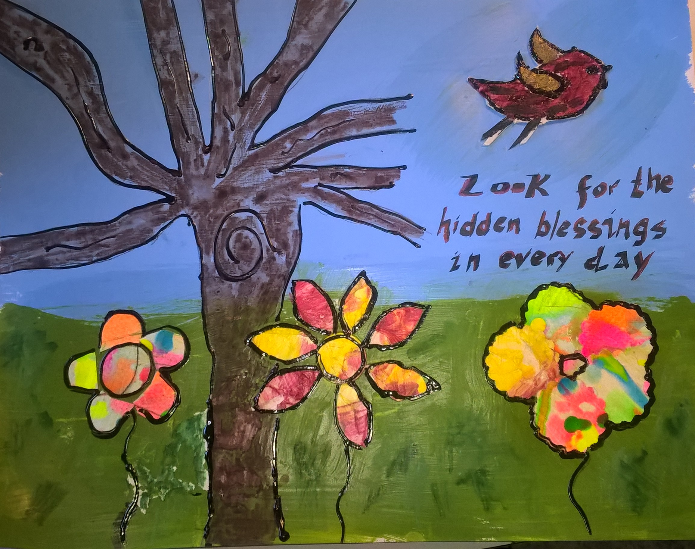 mixed media art with tree and flowers