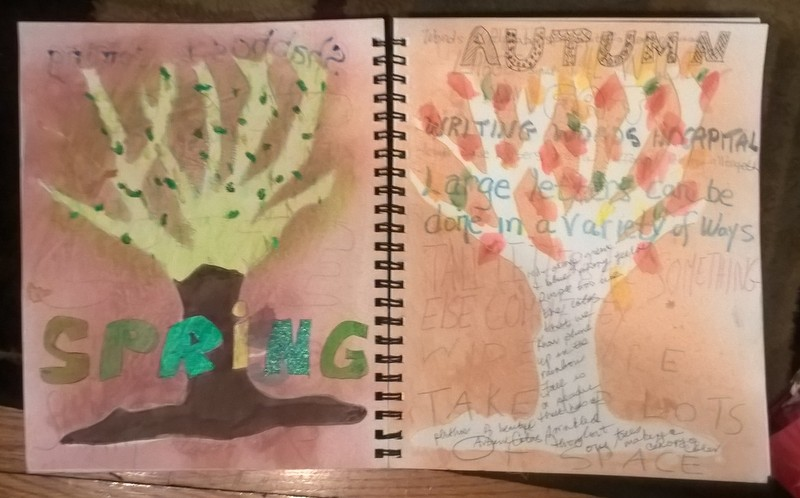 art journal spread using tree stencil depicting autumn and spring