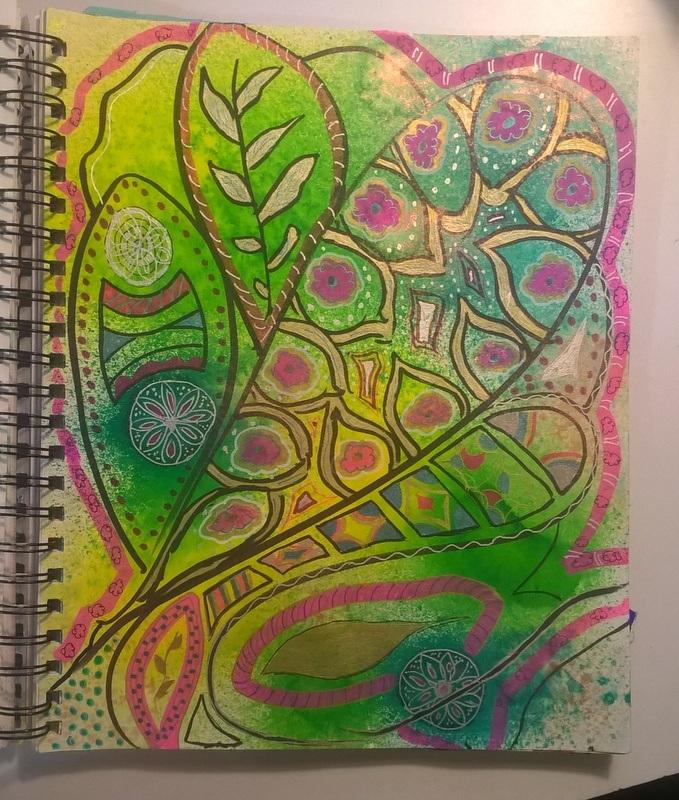 doodled design on top of sprayed background