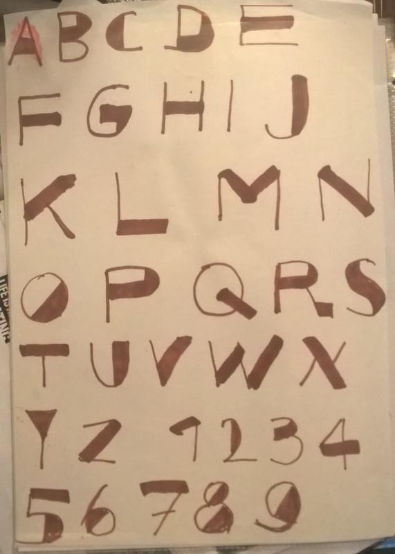 alphabet written in fancy lettering