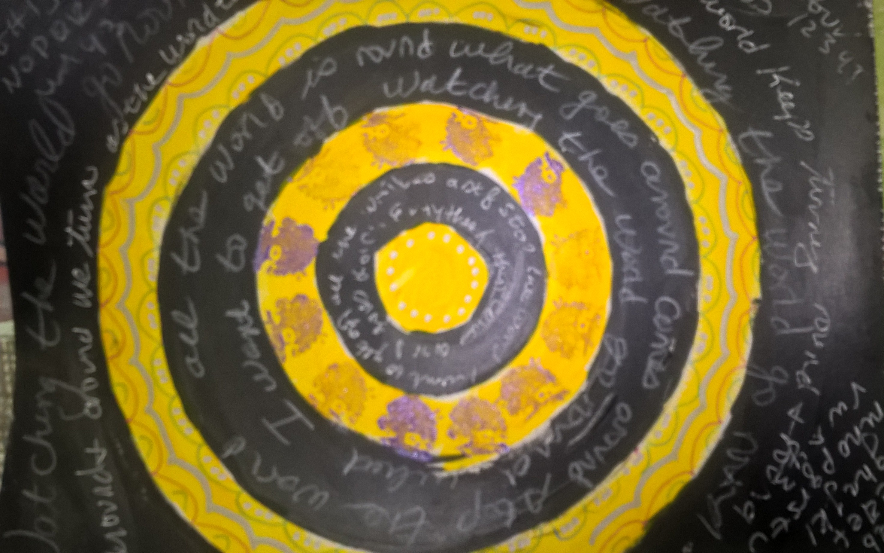 abstract art with circles and journaling