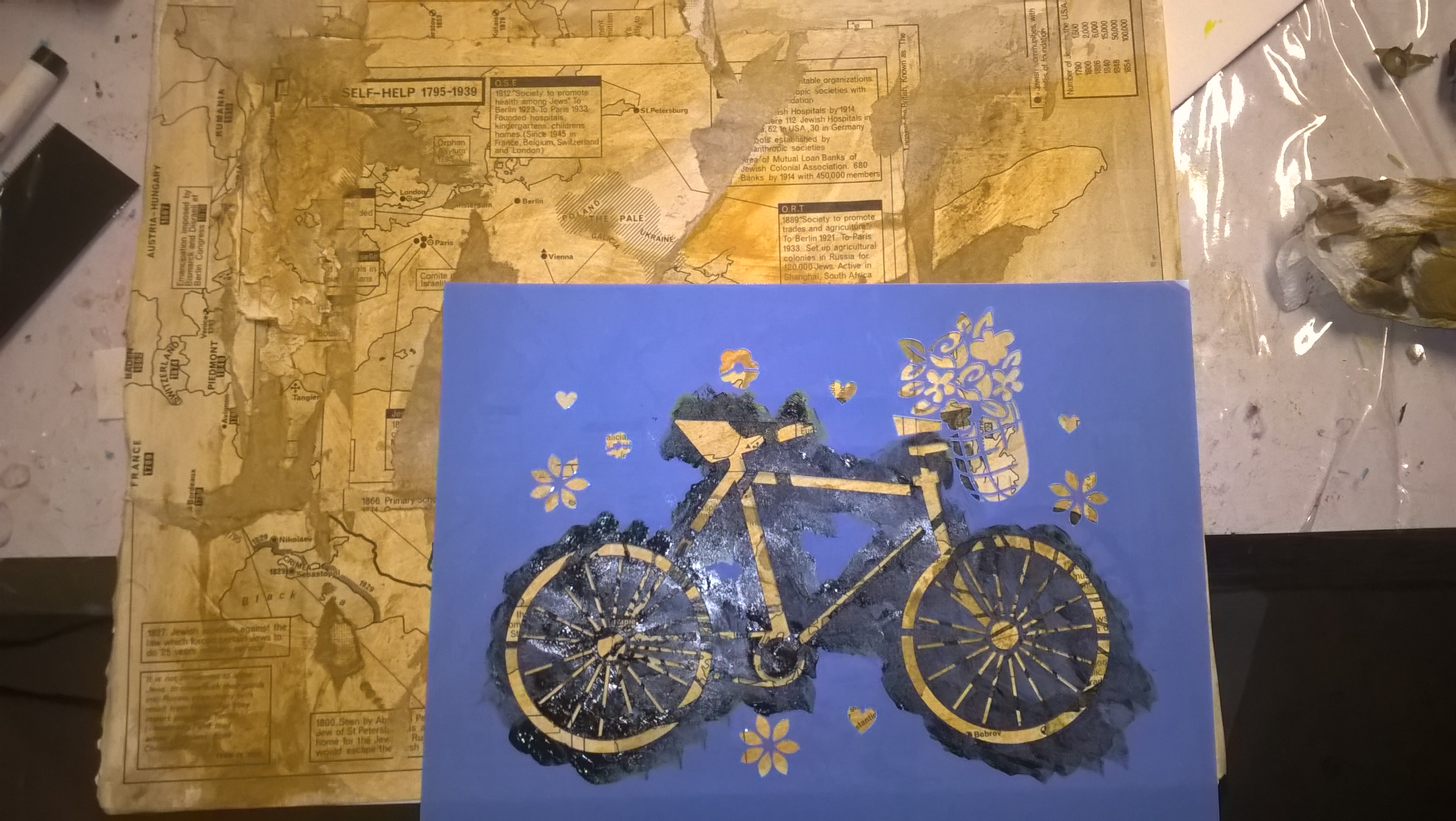 using bike stencil for background