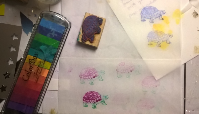 stamping turtles on deli paper with color box inks