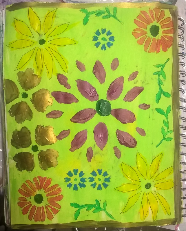 colored in flower stenciled background