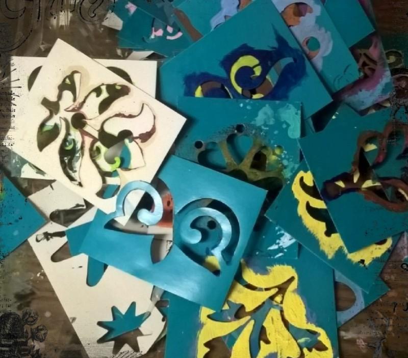 square cardboard design stencils