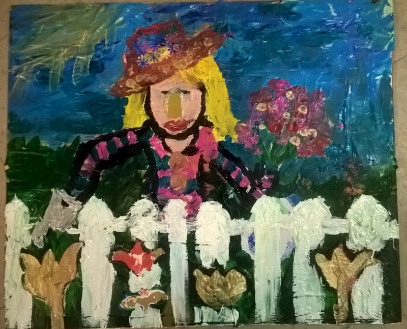 mixed media. Woman behind white fence holding flowers