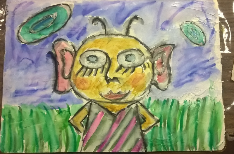 painted martian looking girl with big ears