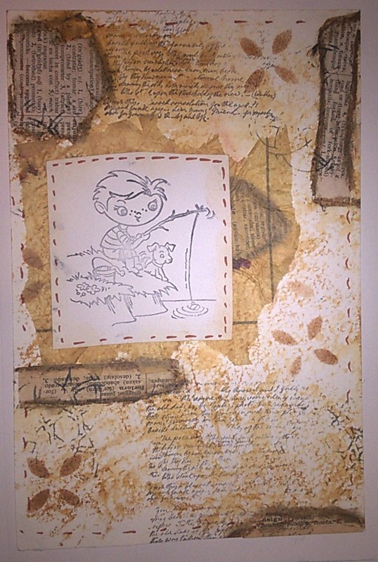 coffee backgroud with neutrals and stamp of boy fishing
