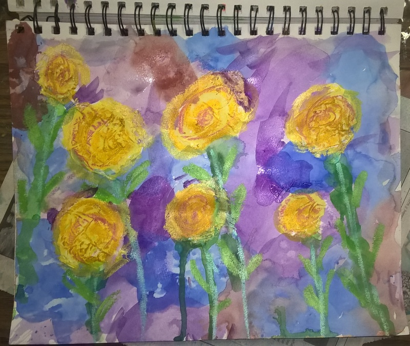 jurnal page of watercolor flowers