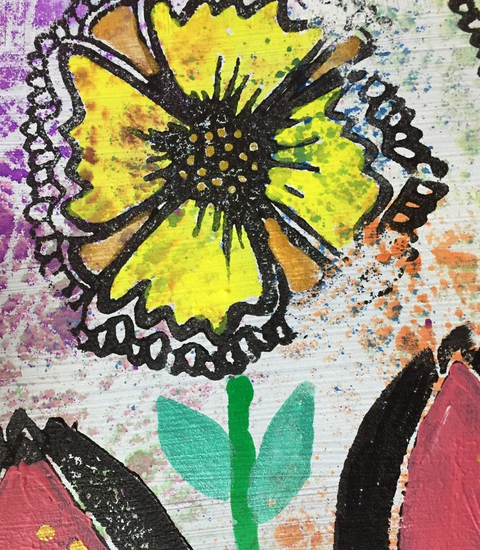 closeup of flower painted with ink