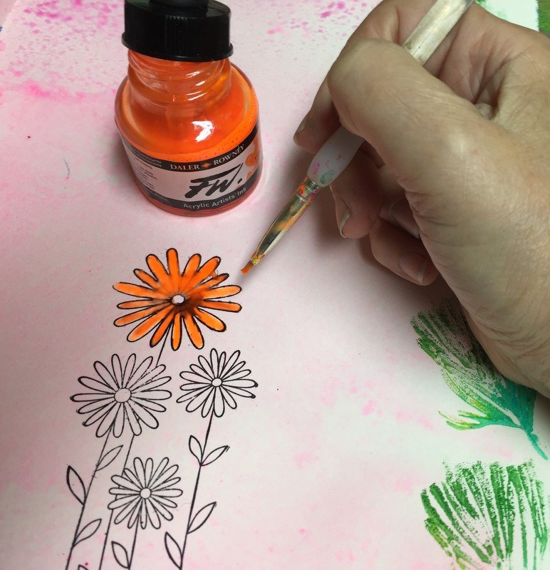 painting flower with ink