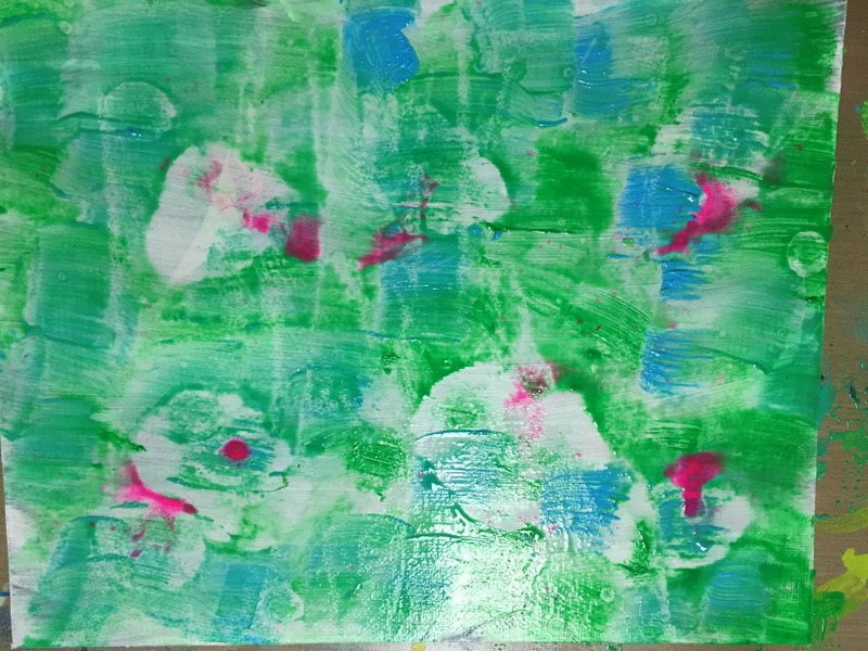 green and blue acrylic painted background with ink drips