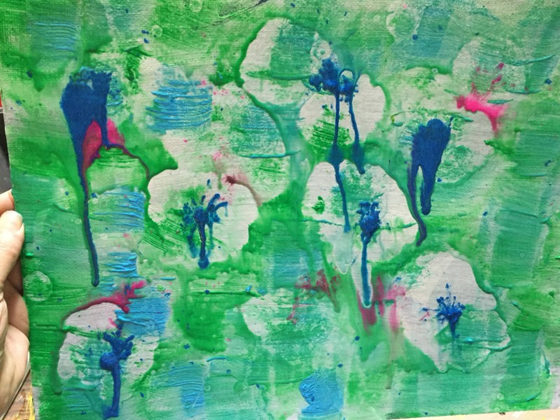 green and blue acrylic painted background with ink drip