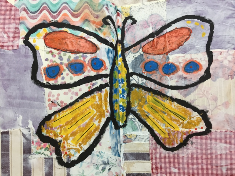 butterfly drawn over fabric